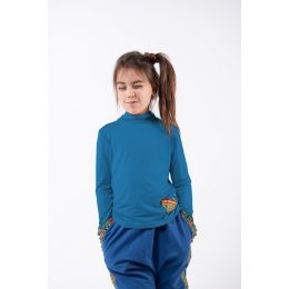 Stand-up Collar Blouse Pomelo Spanish Blue