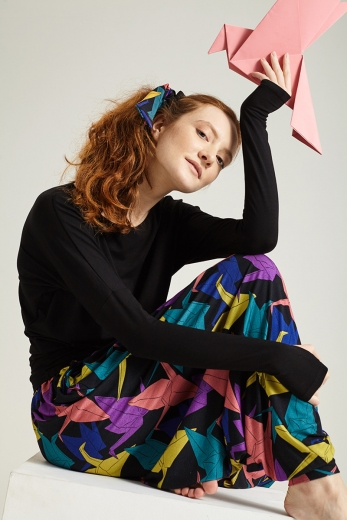 Sash hair scrunchie Origami Black